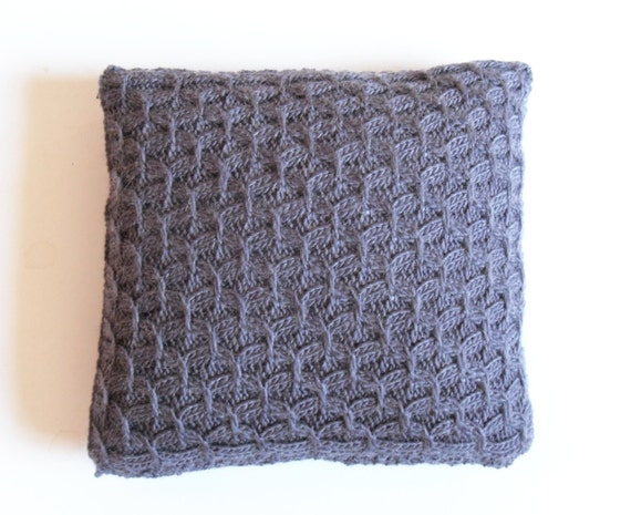 Mohair Cushion Knitting Pattern : Hand knit Purple Cushion Throw Pillow cover by TheFeminineTouch