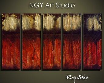"""NGY 23.5"""" x 44"""" Modern Contemporary Abstract Metal Wall Sculpture Art"""