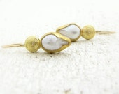 Pearls Gold Earrings - 24k Gold & Pearls Earrings - Bridal Earrings