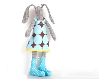 Rabbbit cloth doll , bunny plushie , ragdoll easter bunny - eco knitted silk stuffed bunny doll - rabbit in retro brown blue dress & socks