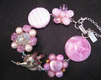 Bridesmaid Gift, Vintage Earring Bracelet, Wedding, Upcycled, Silver, Purple, Rhinestone, Statement, Jennifer Jones, Under 40, OOAK - Orchid
