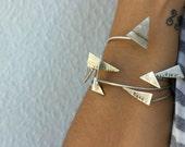 Silver Bangle Bracelet, Hammered Bangle, Silver Earth Symbol, Triangle Bangle, Geometric Bangle
