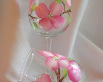 Hand painted wine glasses - pink dogwood blooms