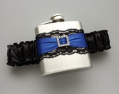 Rhinestone Buckle FLASK GARTER -- Black and Royal Blue -- Holiday / Christmas / Bride / Bridesmaid Gift -- Ready to Ship