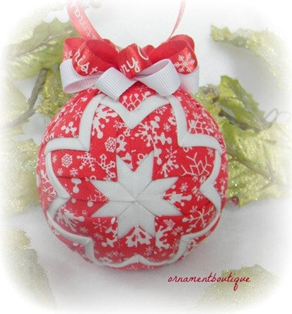 Quilted Christmas Ornament Snowflake Ornament red white