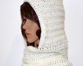 Crochet hooded scarf, red crochet scarf, long scarf with hood, warm winter scarf, white scarf with hood, hooded scarf, crochet scoodie