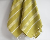 NEW Color SET 2 Head and Hand Towel Classic Peshkir - Mustard Olive Green (white striped)