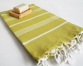 Shipping with FedEx - Turkish BATH Towel - Classic Peshtemal - Mustard Olive Gree (white striped) Beach, Spa, Swim, Pool Towels