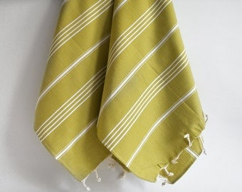 SALE 50 OFF/ Head and Hand Towel / Classic Style / SET / 2 Towels / Mustard Olive Green - White striped