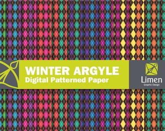 Digital Argyle Paper, Argyle Digital Paper Pack, Argyle Paper, Argyle Background, Diamond Paper, Argyle Scrapbook Paper, Patterned Paper