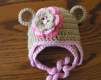 Baby hat for newborn to 18 month infant bear hat - Jennie with flower