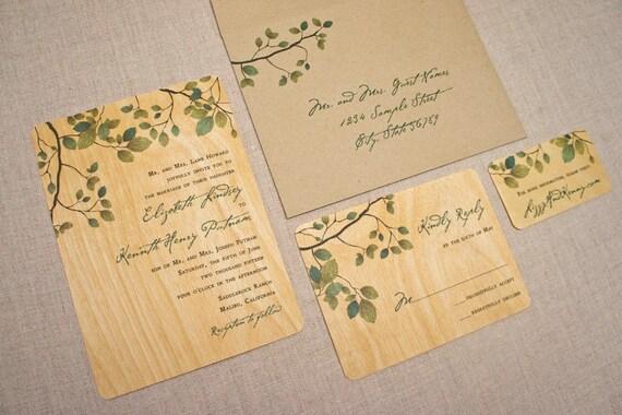 Real Wood Wedding Invitations: Real Wood Wedding Invitations Rustic Green Leaves