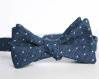 Pin Dot Chambray Bow Tie