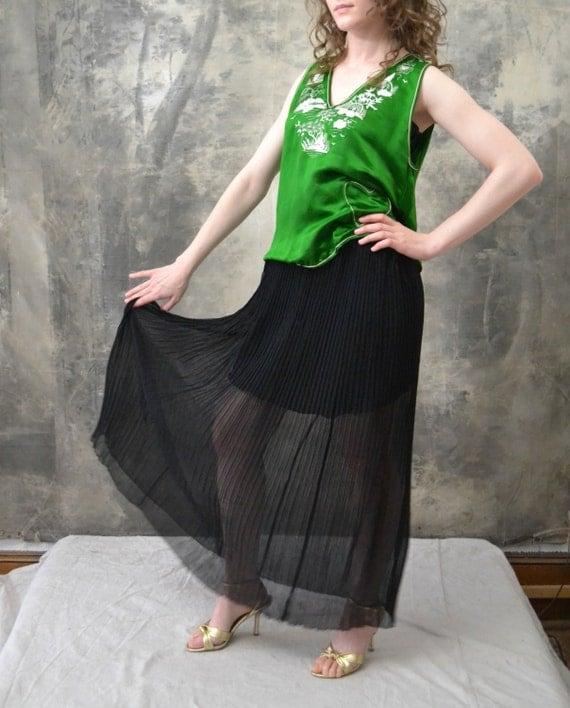 1920s Black Sheer Long Skirt