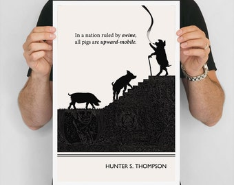 "Literary Art Print, "" Hunter S Thompson"" Large Wall Art Posters, Literary Quote Poster, Illustration, Black and White Art, Literary Gift"