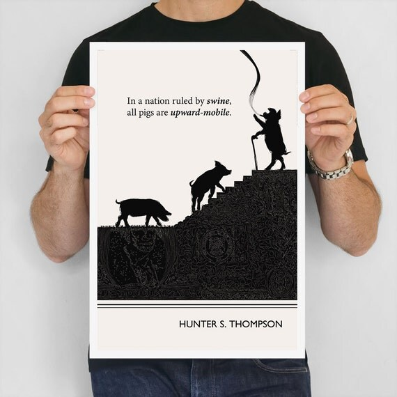"""Literary Art Print, """" Hunter S Thompson"""" Large Wall Art Posters, Literary Quote Poster, Illustration, Black and White Art, Literary Gift"""