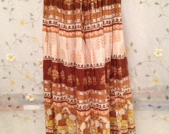 SMALL, Cotton Hippie Ethnic Elephant Brown Boho Skirt