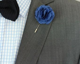 Royal blue mens boutonniere, lapel pin, groomsmen boutonniere, mens lapel flower, wedding boutonniere