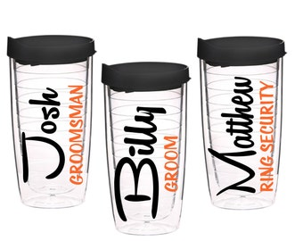 Set of 6 Personalized Groomsman Cups, Groomsmen Cups, Grooms Gift, Groomsmen, Ring Security, Ring Bearer