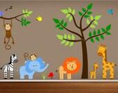 Jungle Nursery Decals,Tree Wall Decal,monkey wall decal, lion decal, elephant decal,giraffe wall decal,Zoo Animal Decals,Jungle Land Sticker