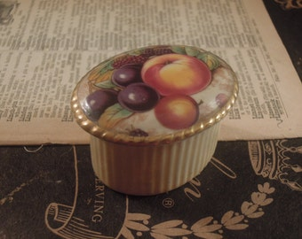 Vintage Porcelain Pill Box with White Porcelain Lid / Trinket Box / Gift Box / Orchard Gold / Aynsley