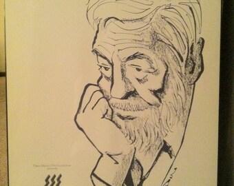 Bill Mauldin Art Work, Poster for Santa Fe Film Festival Honoring John Huston, William Henry Mauldin