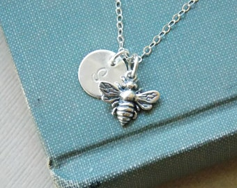 Personalized Bee Necklace Sterling Silver Initial Charm Necklace, Silver Bee Necklace, Bee Jewelry