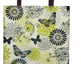 Lime Green Grey with Butterfly Print Reversible Tote Bag
