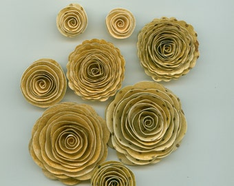 Vintage Chiffon Rose Spiral Paper Flowers for Weddings, Bouquets, Events and Crafts