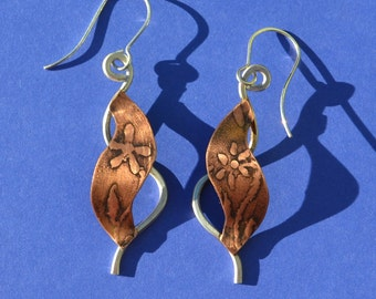 Flower Patterned Copper and Sterling Silver Earrings