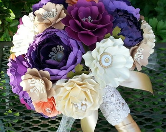 Paper Bouquet - Paper Flower Bouquet - Wedding Bouquet - Shades of Purple with Coral and Cream - Custom Made - Any Color