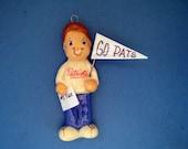 New England Patriots fan ornament handmade bread dough by judy caron