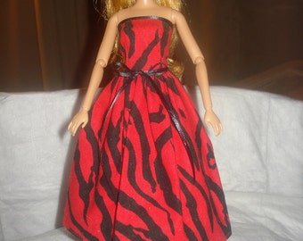Strapless party dress in red & black Zebra print for Fashion Dolls - ed527