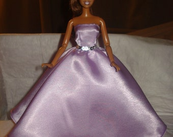Red Carpet Collection - Lilac purple Satin formal dress with pink Tulle slip for Fashion Dolls- ed505