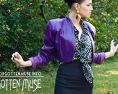 R E S E R V E D - 1980s 80s - rocking purple leather cropped jacket bolero - size M L