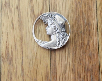 Vintage 80's Sterling Silver Repousse Gibson Girl Brooch