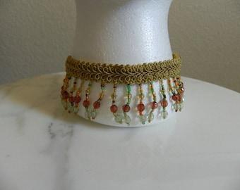 Gold Braid and Bead Pendants Choker