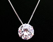 Cubic Zirconia Necklace, 12 mm CZ Pendant, Large Cubic Zirconia Solitaire Necklace, Sterling Silver, Mothers Day Gift, Wedding Jewelry
