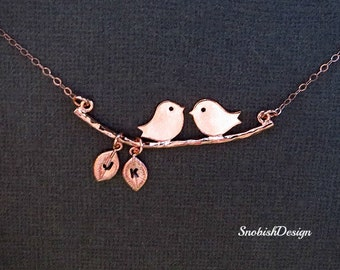 Rose Gold Love Birds Necklace, initial Leaf Charm, Mothers Necklace, Mom Gift, Couples Jewelry, Bird Jewelry, Mommy Necklace, Animal
