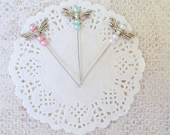 Dragonfly Stick Pin, Scrapbooking, Card Making,  Pink, Blue, White, Straight Pin, Mixed Media Jewelery, Tags, Set of 3
