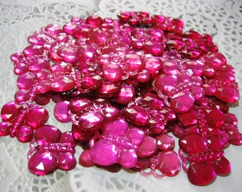 50 Flat Back Pink Butterfly Rhinestones Acrylic Gems for Scrapbooking Cards Mini Albums and Papercrafts Jewelry DIY