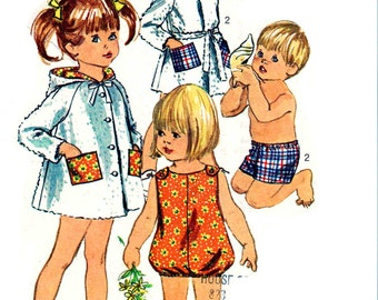Vintage 1960s Toddler Swimwear Pattern Size 1 Chest 20 Simplicity 7040