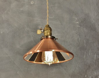 Industrial Light - Vintage Pendant Lamp with Cone Mirror Reflector Shade - Antique Pharmacy Lamp - Apothecary - Steampunk Hanging Light