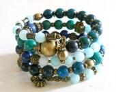 bohemian bracelet  wrap bracelet stone memory wire bracelet green cuff bracelet boho bracelet chrysocolla bracelet stone bracelet