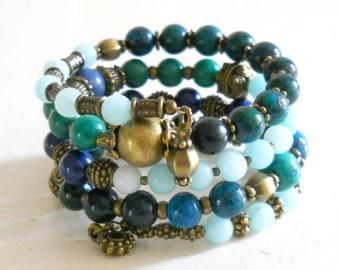 bohemian wrap bracelet stone memory wire bracelet green cuff bracelet boho chrysocolla bracelet