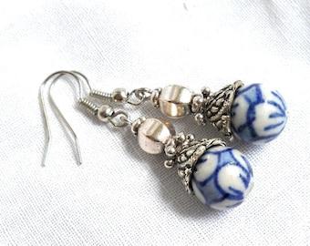 delft blue earrings blue earrings delft blue style dangle earrings delft blue jewelry blue floral earrings