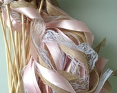 Rustic Wedding Wands, 100 Triple, with Lace, Burlap/jute, Ribbon and Bells farm barn country