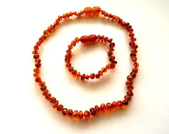 Baltic Amber Baby Teething Necklace and Anklet Cognac Set Natural Healing