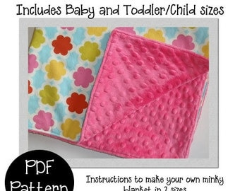 Minky Blanket PDF pattern- How to make a minky backed blanket in 2 sizes
