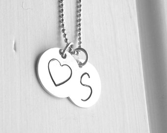 Initial Necklace, Sterling Silver Jewelry, Heart Necklace, Letter S Necklace, Charm Necklace, S, All Letters Available, Initial Charms